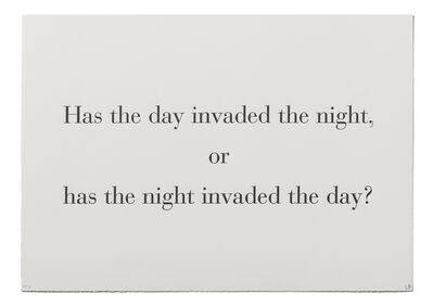 """Louise Bourgeois, '""""Has the Day Invaded the Night, or Has the Night Invaded the Day?"""" from """"What is the Shape of this Problem?""""', 1999"""