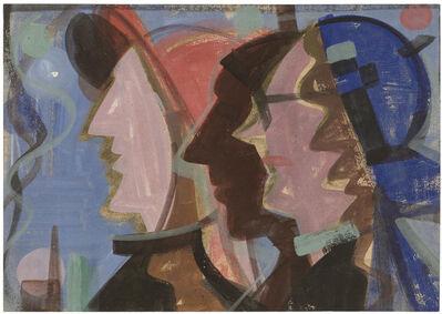 Hermann Glöckner, 'Drei Köpfe im Profil nach links, vor blauem Grund', 1951