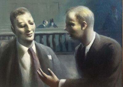 "Guy Pène du Bois, '""Two Figures in Courtroom"" WPA American Modernism Realism Lawyers NYC Scene Oil', ca. 1945"