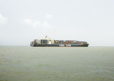 Victoria Sambunaris, 'Untitled (Container Ship, CMA CGM Kingfish, Liberia), Houston Ship Channel, Texas', 2016