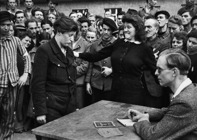 Henri Cartier-Bresson, 'A YOUNG BELGIAN WOMAN IS DENOUNCED AS A GESTAPO INFORMER, DESSAU, APRIL 1945', 1945