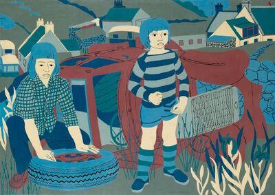 Norman Gilbert, 'Children Beside an Old Car', 1975