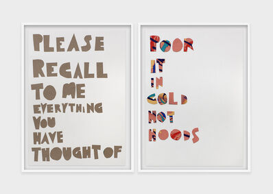Eve Fowler, 'Please recall to me everything you have thought of', 2019