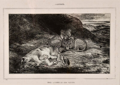 Antoine-Louis Barye, 'Reclining Cats', 19th century