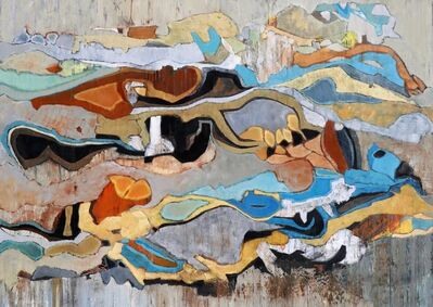 """Chase Langford, '""""Emerald Bay 22"""" Abstract oil painting in Browns, Turquoise, Blue, Orange, Neutrals', 2010-2018"""