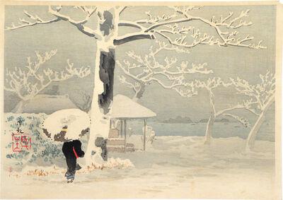 Kobayashi Kiyochika 小林清親, 'Woman with Umbrella in Snow', ca. 1920-30s