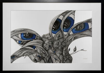 Katherine Filice, 'Twilight - Pen and Ink Surreal Black, White and Blue Drawing of Solidarity among Women', 2019