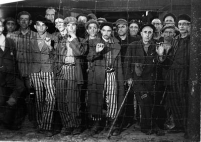 Margaret Bourke-White, 'Buchenwald Prisoners, Germany', 1945