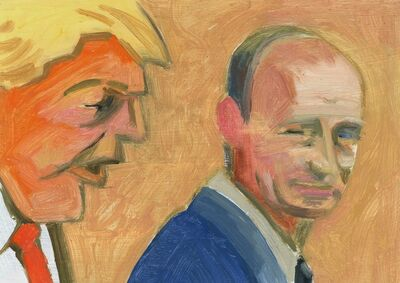 Lois Dodd, 'Donald Trump + Vladimir Putin (Looking Over Shoulder)', 2018
