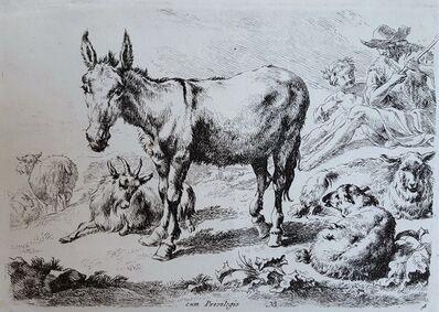 Nicolaes Pietersz Berchem, 'Donkey, Sheep, and Goats', ca. 1650