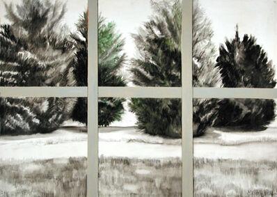Ellen Sinel, 'Evergreens Through a Window in Black and White'