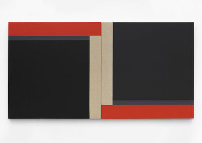 Scot Heywood, 'Matisse's Window - Black, Gray, Red, Linen', 2020