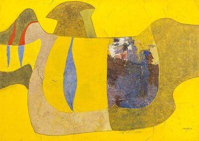 Jose Delgado Zuniga, 'PAJARO AMARILLO, The Yellow Bird. Latin American Mixed Media Painting', 1970-1979