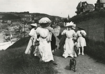 Jacques Henri Lartigue, 'At Etretat again, I took pictures of my mother's friends, promenading adventurously on the cliff above the port', 1910