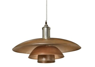 "Poul Henningsen, '""PH-5/4"". Pendant with nickel plated socket house marked ""PH-4 patented"", mounted with copper shades.'"