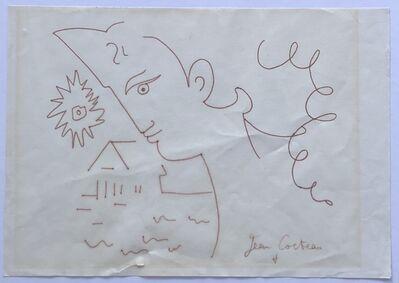Jean Cocteau, 'Profile with Sun and House', ca. 1960