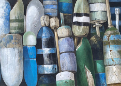 """Michel Brosseau, ' """"Dockside Bouys"""" oil painting of a collection of a blue, green, and gray bouys', 2014"""