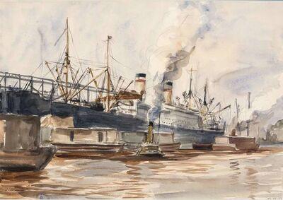 Reginald Marsh, 'Steamship and Tugboat Along a Pier'