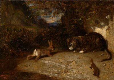 Alexandre-Gabriel Decamps, 'Cat, Weasel, and Rabbit', 1836