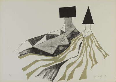 Lynn Chadwick, 'Reclining Couple (Gold Stripes)', 1973