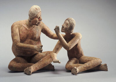 Late Formative or Early Classic, Xochipala, 'Seated adult and youth', 400-200