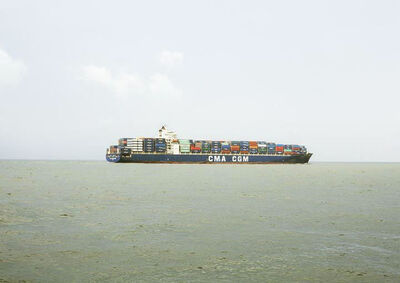 Victoria Sambunaris, 'Untitled (Container Ship, CMA CGM Kingfish, Liberia), Houston Ship Channel, Texas VS-16-121D', 2016