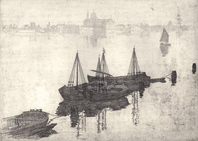 Arthur Streeton, 'The Lagoon and Barges, Venice', ca. 1910