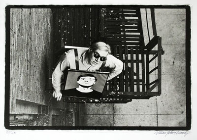 William John Kennedy, 'Andy Warhol with Self-Portrait at the Factory's Fire Escape', 1964