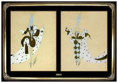Erté (Romain de Tirtoff), 'ERTE 2 Original Gouache Painting Marie Antoinette Dress Design Signed Tirtoff', 20th Century