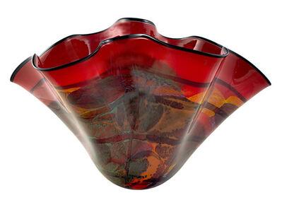Ioan Nemtoi, 'Red Karo Wavy Oval Vase', 2005