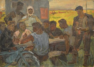 Aleksey Ivanovich Borodin, 'Farmers meeting at the table', 1958