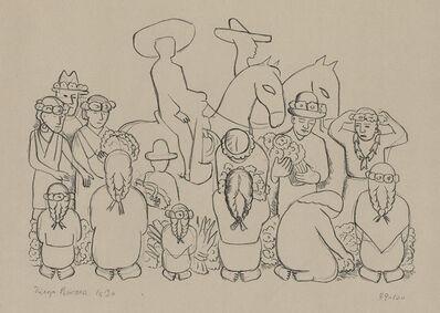 Diego Rivera, 'El Mercado De Flores (Flower Market)', 1930