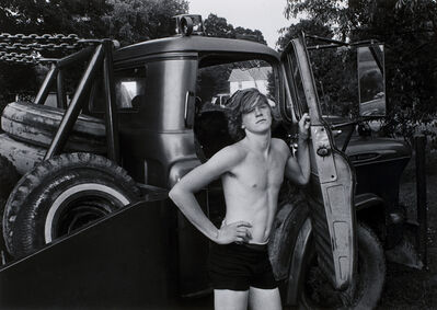 Mark Goodman, 'Donald York, Jr. standing beside his father's wrecker, Millerton, New York', 1974