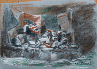 Pei Zhuangxin, 'Sketch ⼿稿《⾯具與⽜⽪船》', 2015