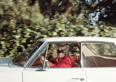 Andrew Bush, 'Women racing southwest at 41 mph along 26th Street near Riviera Country Club, Pacific Palisades, California, at 1:14 p.m. on a Tuesday in February 1997', 1997