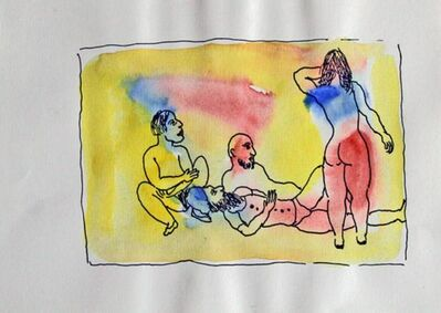 Tasaduq Sohail, 'Untitled (Men lying down looking at woman's back)'