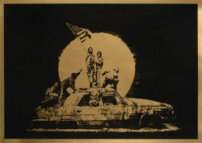 "Banksy, 'GOLD FLAG, AP ""ghetto crew ""', 2008"
