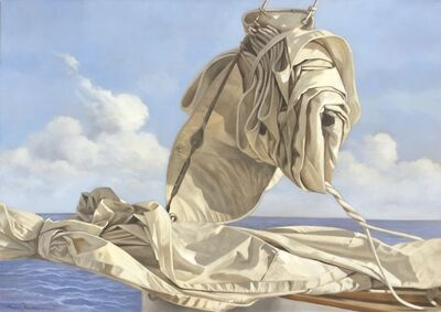 """Michel Brosseau, '""""Voille de Mer"""" oil painting of a folded sail with blue ocean and clouds behind', 2019"""