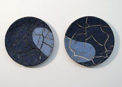 Steven Heinemann, 'TP No 1 - blue, textured, pair, ceramic, wall mounted circular sculpture', 2021