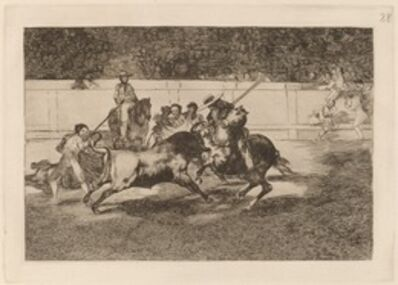 Francisco de Goya, 'El esforzado Rendon picando un toro, de cuya suerte murio en plaza de Madrid (The Forceful Rendon Stabs a Bull with the Pique, from Which Pass He Died in the Ring at Madrid)', in or before 1816