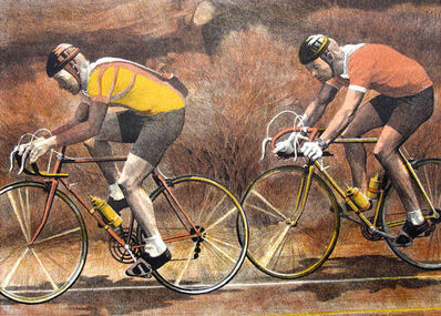 Anne Lyman Powers, 'Two Bicyclists'