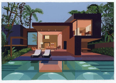 Andy Burgess, 'Tropical House with Illuminated Pool', 2020