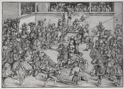Lucas Cranach the Elder, 'The Second Tournament with the Tapestry of Samson and the Lion', 1509
