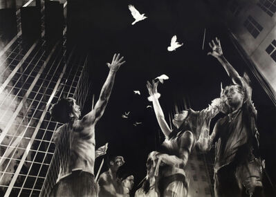 Ian Francis, 'A Flock of Birds Suspended Between Buildings'