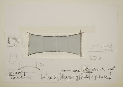 Peter Welz, 'Study | Line | vanishing | disappearing | breathe | aspirate | onto fake concrete wall | leaning', 2004