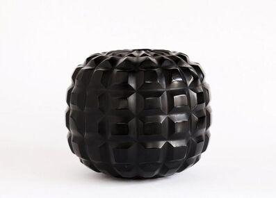 Massimo Micheluzzi, 'vetro vaso nero piccolo inciso soffiato', 2017