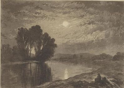 John Henry Hill, 'Moonlight on the androscoggin', date unknown