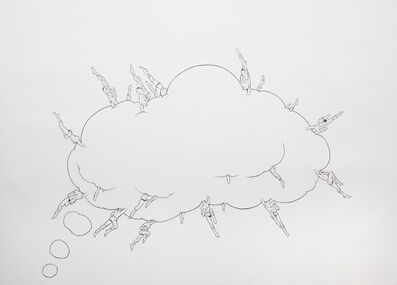 """Jim Shaw, 'Dream Object, (""""I was working on these large drawings of comic aesthetics with headless superheroes embedded..."""") (thought bubble cloud)', 2012"""
