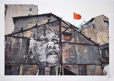 JR, 'Action in Shanghai, Jiang Qizeng - Red Flag, China', 2012