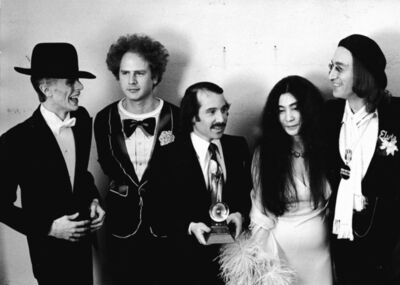 Ron Galella, 'David Bowie, Art Garfunkel, Paul Simon, Yoko Ono, and John Lennon at the Grammy Awards, New York', 1975